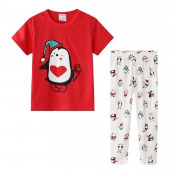 """Детская пижама для девочки из 2 предметов """"Влюбленный пингвин"""""""