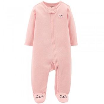 """Слип хлопковый для новорожденной девочки розовый """"Маленькая кошечка"""""""