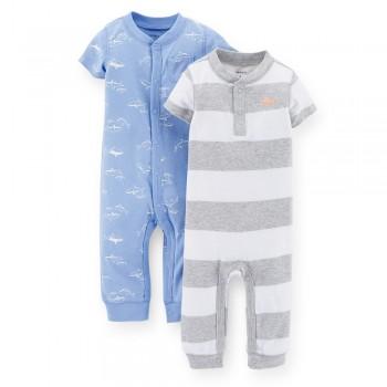 """Набор из 2 слипов хлопковых с открытыми ножками для новорожденного мальчика """"Маленькая акула"""""""