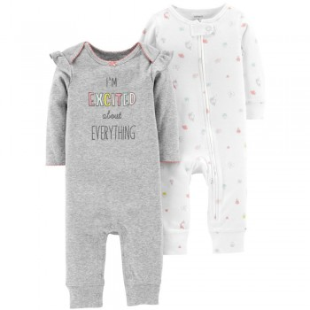 """Набор из 2 слипов хлопковых с открытыми ножками для новорожденной девочки """"Восторг"""""""