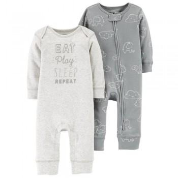 """Набор из 2 слипов хлопковых с открытыми ножками для новорожденных """"Сонные дни"""""""
