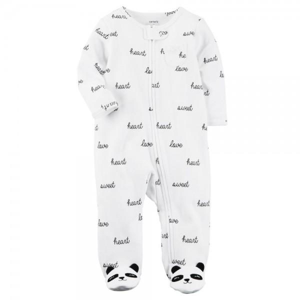 """Слип хлопковый для новорожденной девочки белый """"Любимая панда"""""""