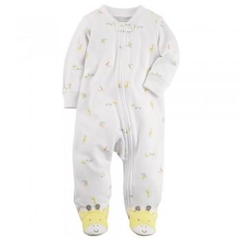 """Слип хлопковый для новорожденных детей белый """"Солнечный жирафик"""""""
