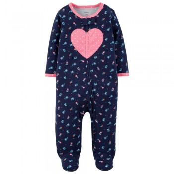 """Слип хлопковый для новорожденной девочки темно-синий """"Цветочное сердечко"""""""