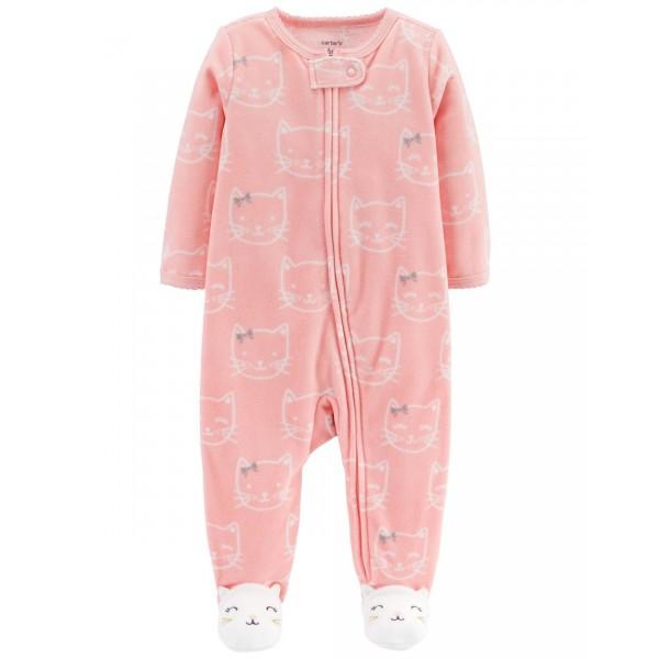 """Слип микрофлисовый для новорожденной девочки розовый """"Киса"""""""