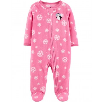 """Слип микрофлисовый для новорожденной девочки розовый """"Милая пингвинюшка"""""""