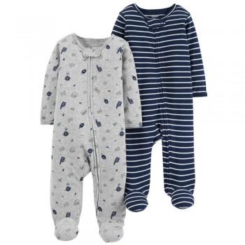 """Набор из 2 слипов хлопковых с закрытыми ножками для новорожденного мальчика """"Спортивный болельщик"""""""