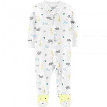 """Слип хлопковый для новорожденных детей белый """"Маленький жирафик"""""""