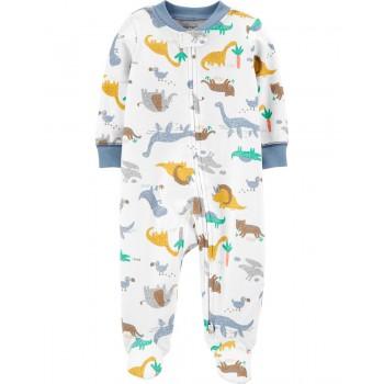 """Слип хлопковый для новорожденного малыша белый """"Детские динозавры"""""""