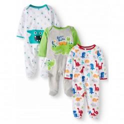 """Набор из 3 слипов хлопковых с закрытыми ножками для новорожденного """"Монстрик"""""""