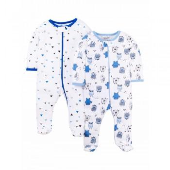 """Набор из 2 слипов - человечков хлопковых для новорожденного мальчика """"Сонные монстры"""""""