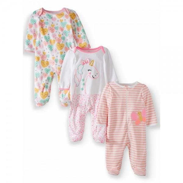 """Набор из 3 слипов хлопковых с закрытыми ножками для новорожденной """"Яркий жирафик"""""""