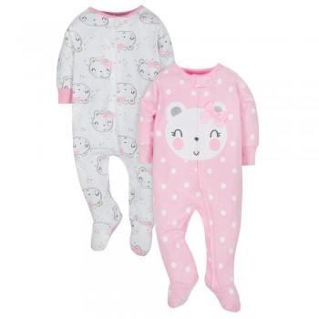 """Набор из 2 слипов хлопковых с закрытыми ножками для новорожденной девочки """"Маленькая медведица"""""""