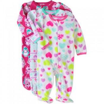 """Набор из 3 слипов - человечков флисовых для новорожденной девочки """"Маленькая стильняшка"""""""
