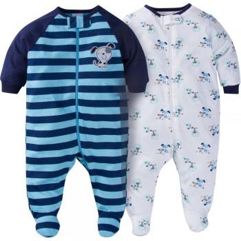 """Набор из 2 слипов хлопковых с закрытыми ножками для новорожденного мальчика """"Веселый песик"""""""