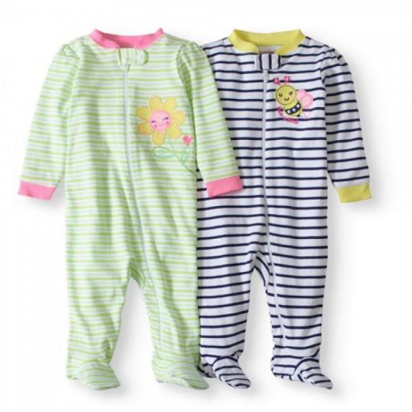 """Набор из 2 слипов - человечков хлопковых для новорожденной девочки """"Пчелка в кармашке"""""""
