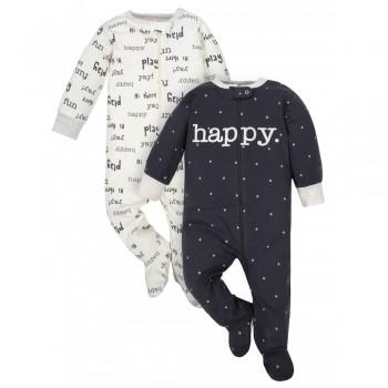 """Набор из 2 слипов - человечков хлопковых для новорожденных """"Счастливая компания - 2"""""""