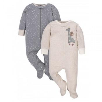 """Набор из 2 слипов - человечков хлопковых для новорожденных """"Счастливая компания"""""""