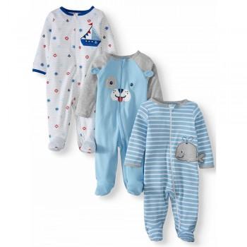 """Набор из 3 слипов хлопковых с закрытыми ножками для новорожденного """"Капитан"""""""