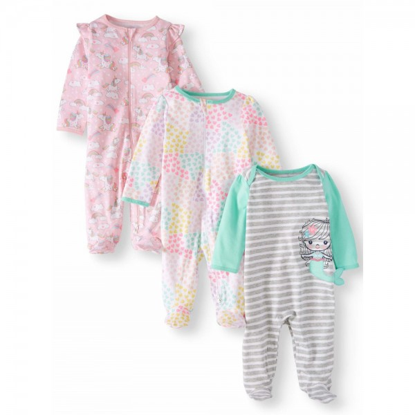 """Набор из 3 слипов хлопковых с закрытыми ножками для новорожденной """"Русалочка"""""""