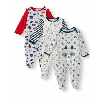 """Набор из 3 слипов хлопковых с закрытыми ножками для новорожденного """"Забавный енот"""""""