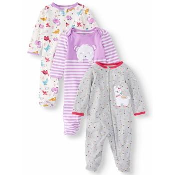"""Набор из 3 слипов хлопковых с закрытыми ножками для новорожденной """"Милая лама"""""""