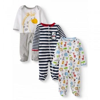 """Набор из 3 слипов хлопковых с закрытыми ножками для новорожденного """"Зверинец"""""""