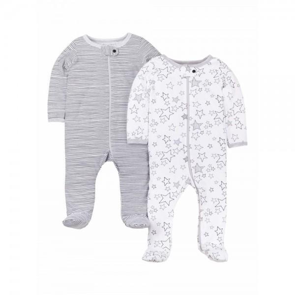 """Набор из 2 слипов - человечков хлопковых для новорожденных детей """"Крутые звезды"""""""