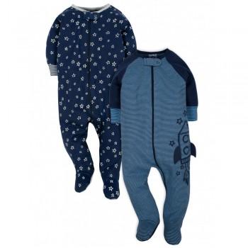 """Набор из 2 слипов хлопковых с закрытыми ножками для новорожденного мальчика """"Космическая ракета"""""""