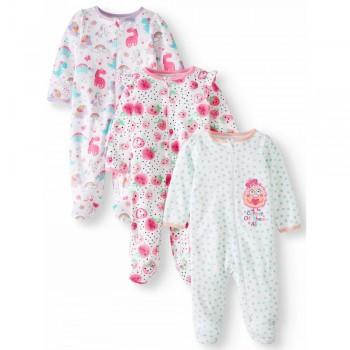 """Набор из 3 слипов хлопковых с закрытыми ножками для новорожденной """"Ягодный фреш"""""""