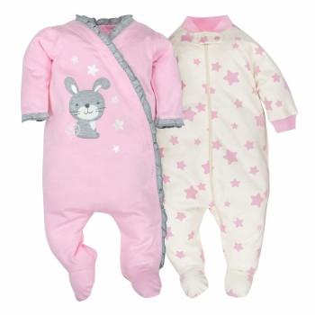 """Набор из 2 слипов хлопковых с закрытыми ножками для новорожденной девочки """"Маленькая зайка"""""""
