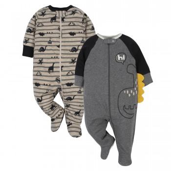 """Набор из 2 слипов хлопковых с закрытыми ножками для новорожденного мальчика """"Веселые динозаврики"""""""