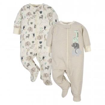 """Набор из 2 слипов хлопковых с закрытыми ножками для новорожденных детей """"Веселые зверушки"""""""