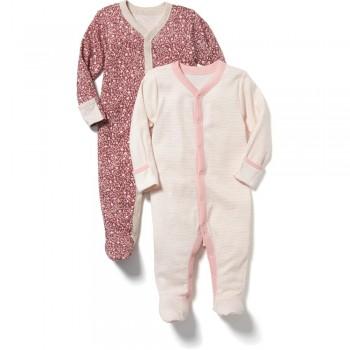"""Набор из 2 слипов - человечков хлопковых для новорожденной девочки """"Нежный сад"""""""