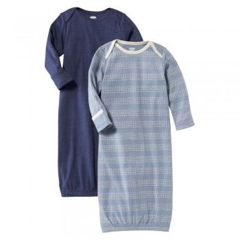 """Набор из 2 слипов-спальников хлопковых для новорожденных синий """"Нежный шоколад"""""""