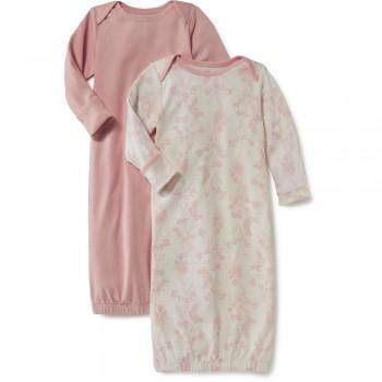 """Набор из 2 слипов-спальников хлопковых для новорожденных розовый """"Нежный шоколад"""""""