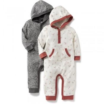 """Набор из 2 слипов - человечков хлопковых с капюшоном для новорожденных """"Сладкие сны"""""""
