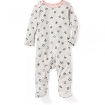 """Слип хлопковый для новорожденной серый """"Розовые сердечки"""""""