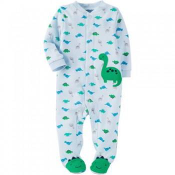 """Слип хлопковый для новорожденной мальчика голубой """"Крутые динозаврики"""""""