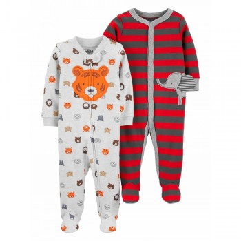 """Набор из 2 слипов хлопковых с закрытыми ножками для новорожденного мальчика """"Веселый тигрик"""""""