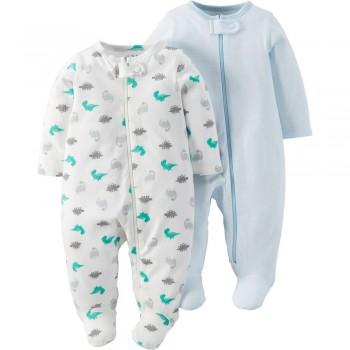 """Набор из 2 слипов хлопковых с закрытыми ножками для новорожденного мальчика """"Маленькие динозаврики"""""""