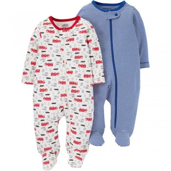 """Набор из 2 слипов хлопковых с закрытыми ножками для новорожденного мальчика """"Маленькие спасатели"""""""