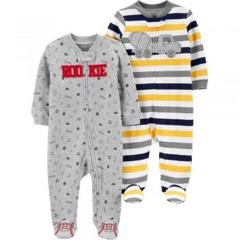 """Набор из 2 слипов хлопковых с закрытыми ножками для новорожденного мальчика """"Маленький чемпион"""""""
