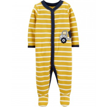 """Слип хлопковый для новорожденного мальчика желтый """"Большой грузовичок"""""""