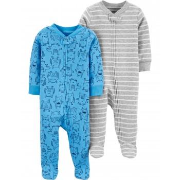 """Набор из 2 слипов хлопковых с закрытыми ножками для новорожденного мальчика серо-синий """"Монстрики рулят"""""""
