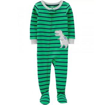 """Слип хлопковый для малыша зеленый """"Приветливый динозавр"""""""