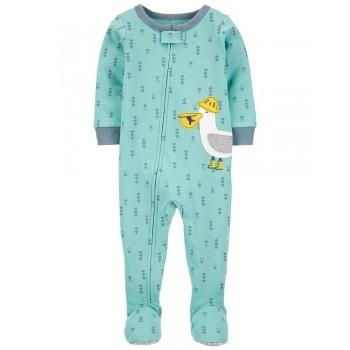"""Слип хлопковый для малыша мятный """"Важный пеликан"""""""
