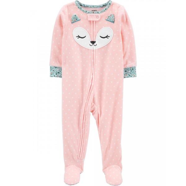 """Слип микрофлисовый для малышки розовый """"Спящая лисичка"""""""