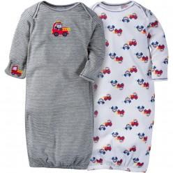 """Набор из 2 слипов-спальников хлопковых для новорожденного мальчика """"Кроха-пожарник"""""""